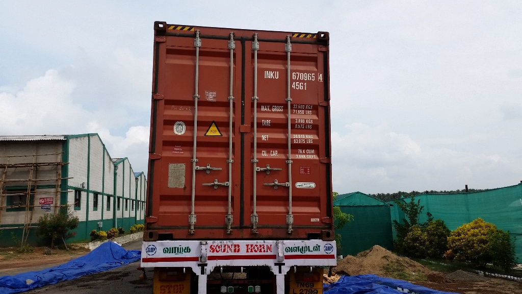 container backing in