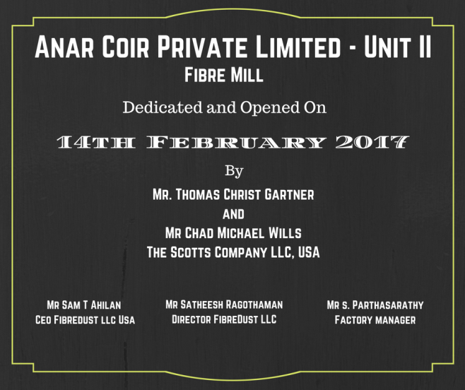 FibreDust's New Fiber Mill:  Anar Coir Pvt Ltd Unit II